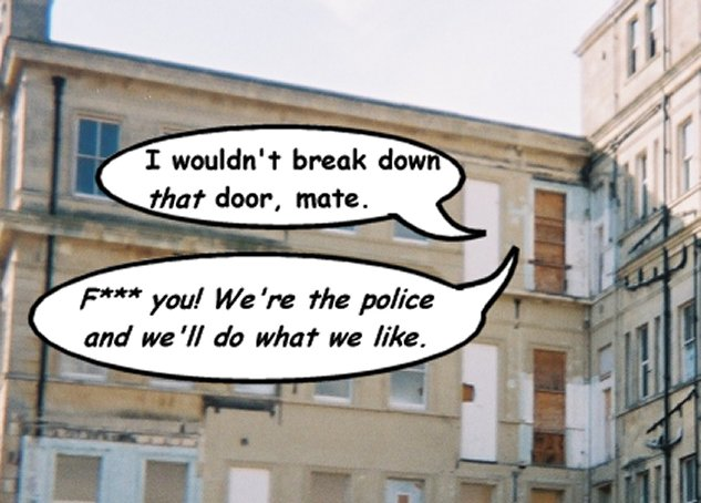 Part-demolished building with doors opening