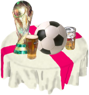 Celebrating the World Cup: Football ball & trophy with beer on an English flag tablecloth